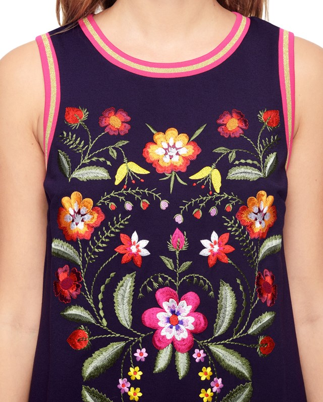 Платье Ponte Floral Embroidered