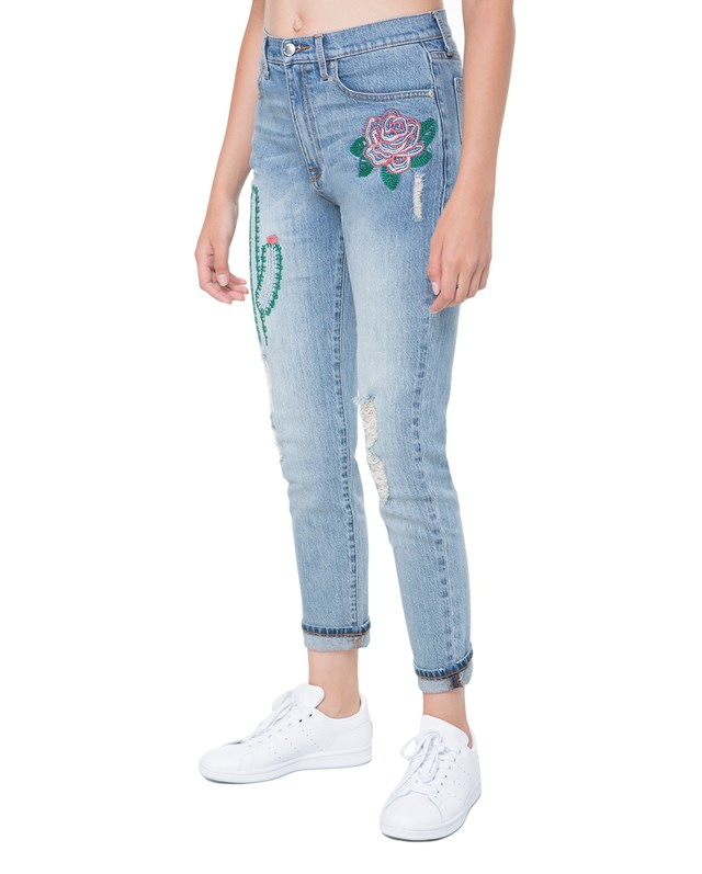 Брюки джинсовые Embroidered Cactus Denim Girlfriend