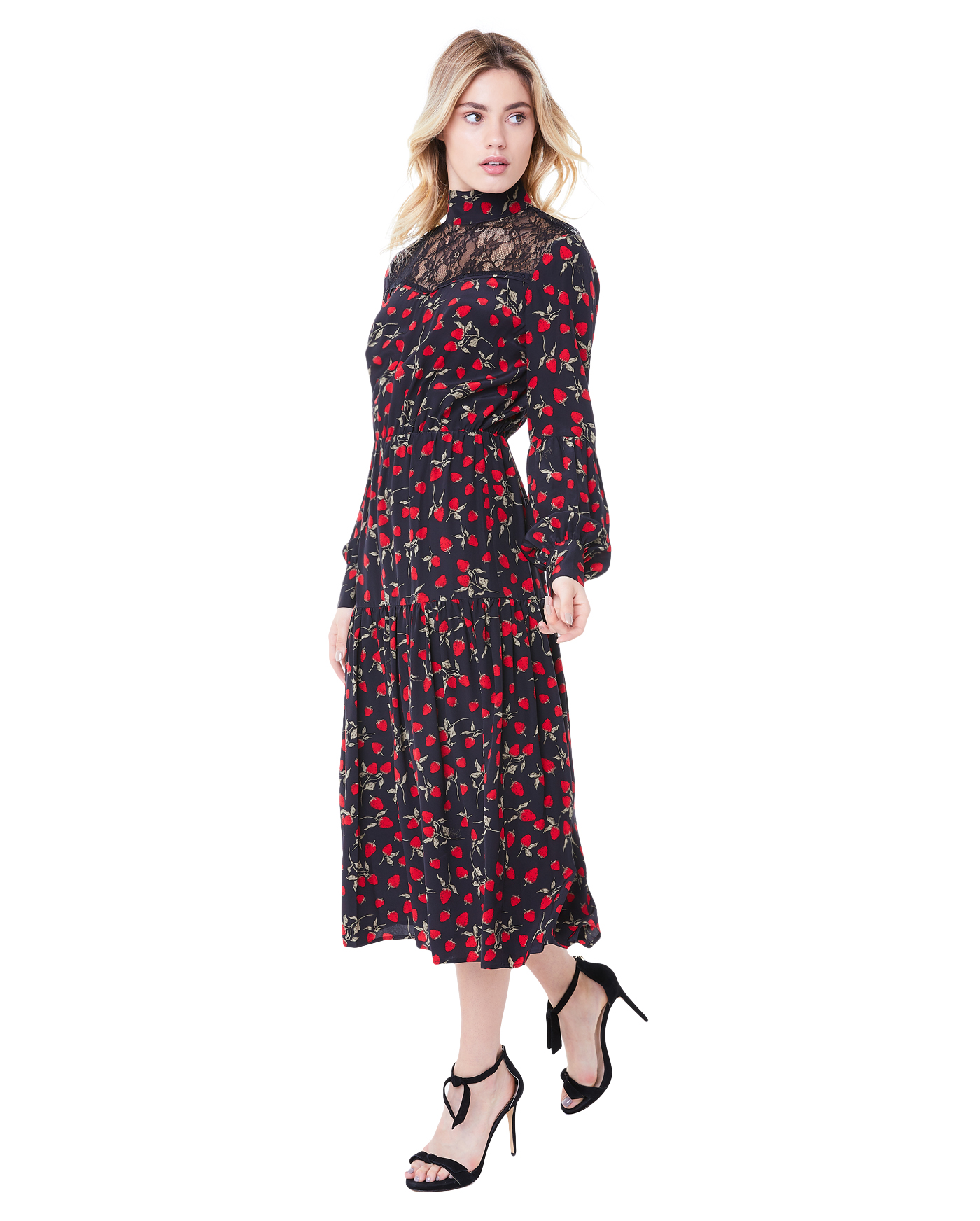 Платье Strawberry Print Silk Midi Dress