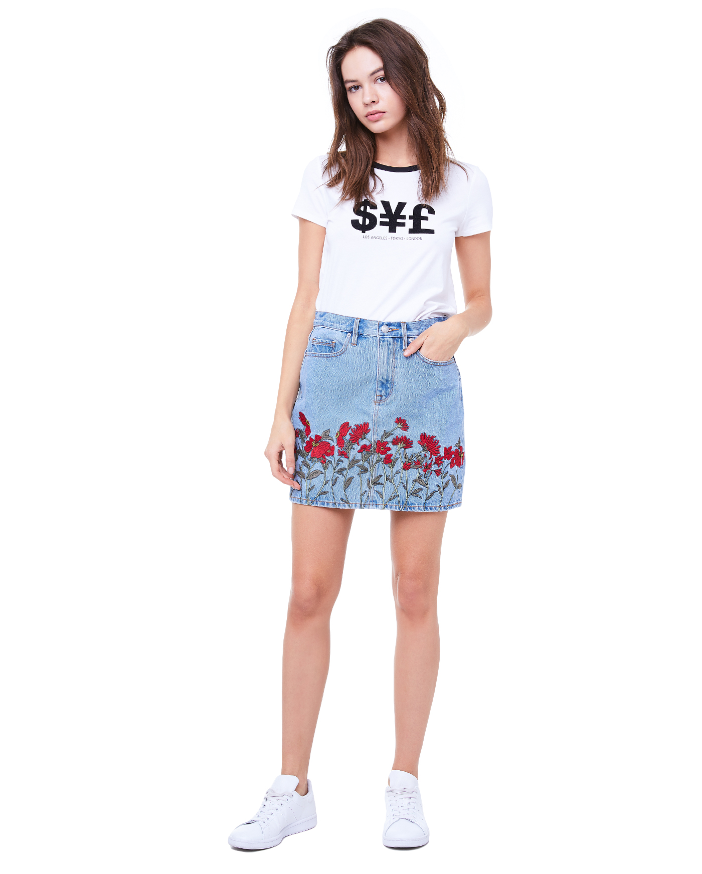Юбка Dnm Embroidered Floral Skirt