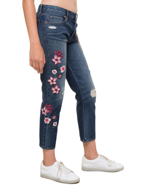 Брюки джинсовые Floral Embellished Denim Boyfriend