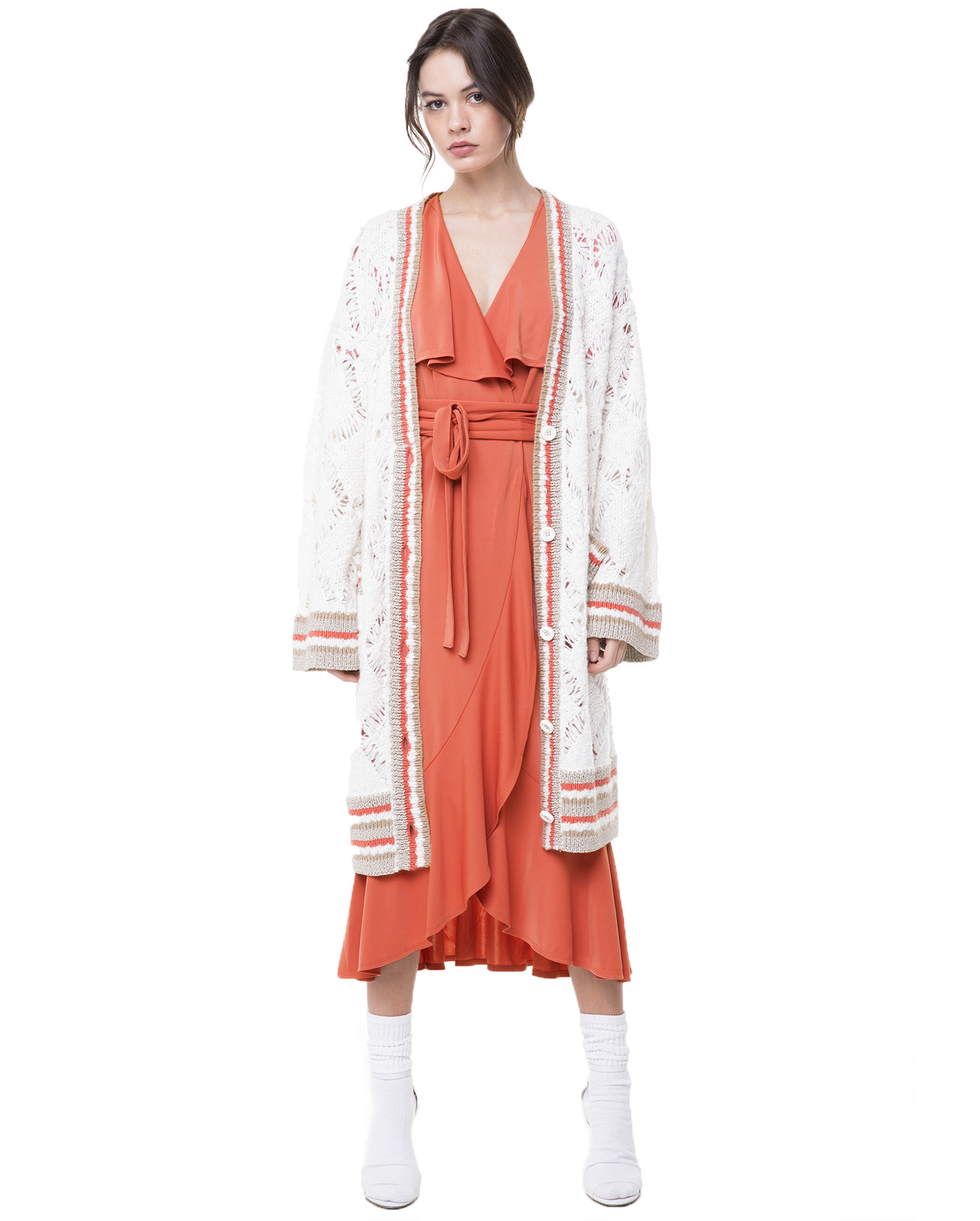 Кардиган Slub Long Cardigan With Multi Rib