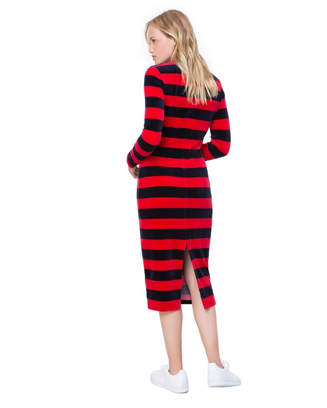 Платье Striped Stretch Velour Fitted Midi Dress