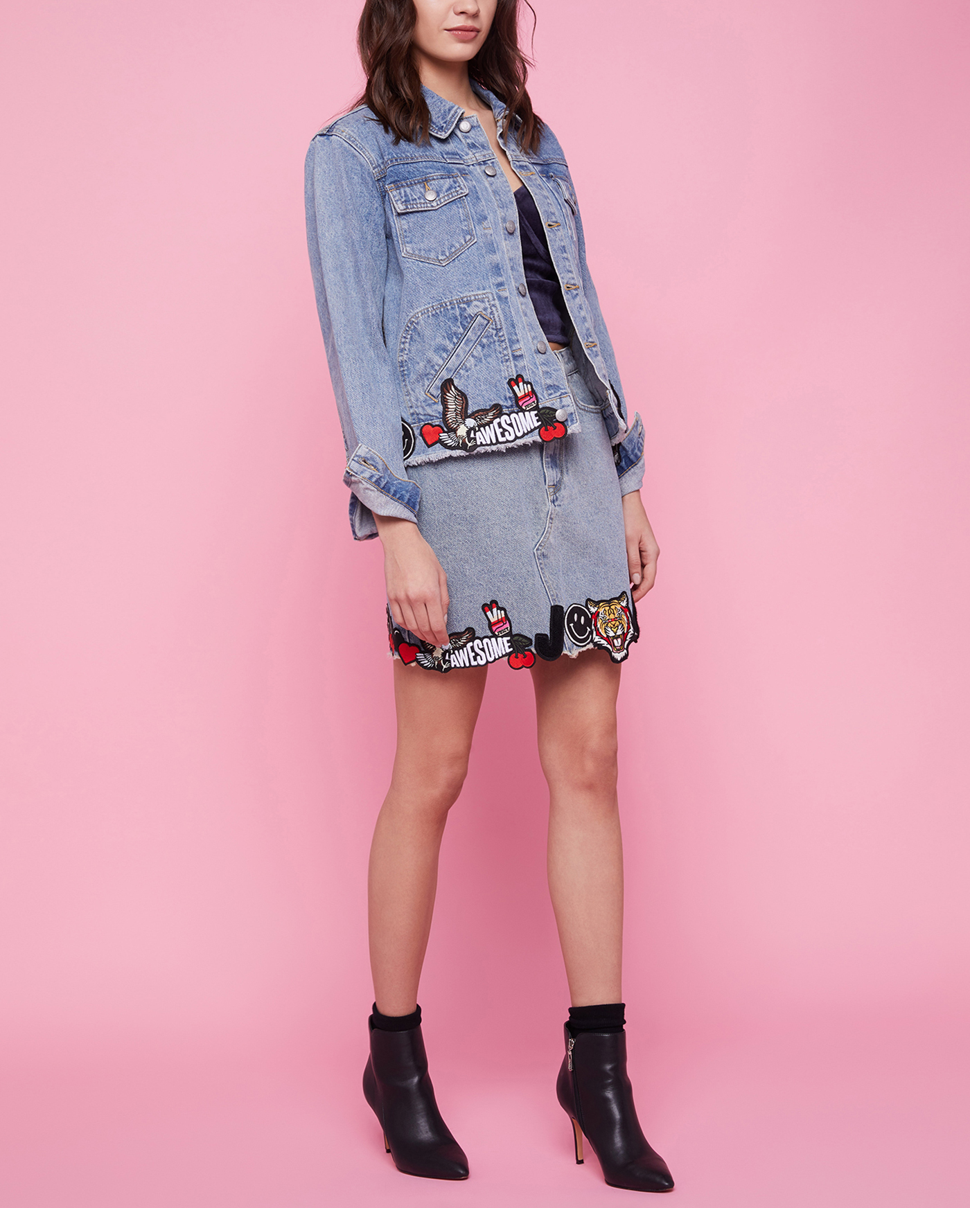 Юбка Denim Mini Skirt W/ All Over Patches